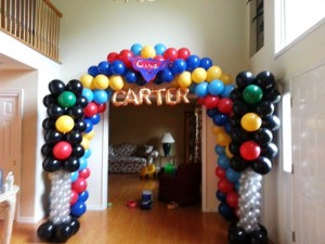 Disney's Cars Themed Balloon Arch with Matching Traffic Light Columns